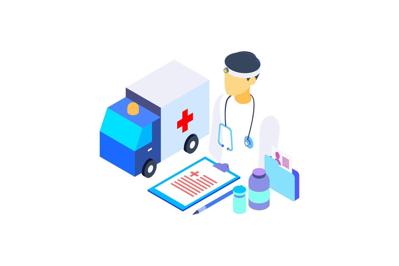Healthcare Isometric Graphic Illustration