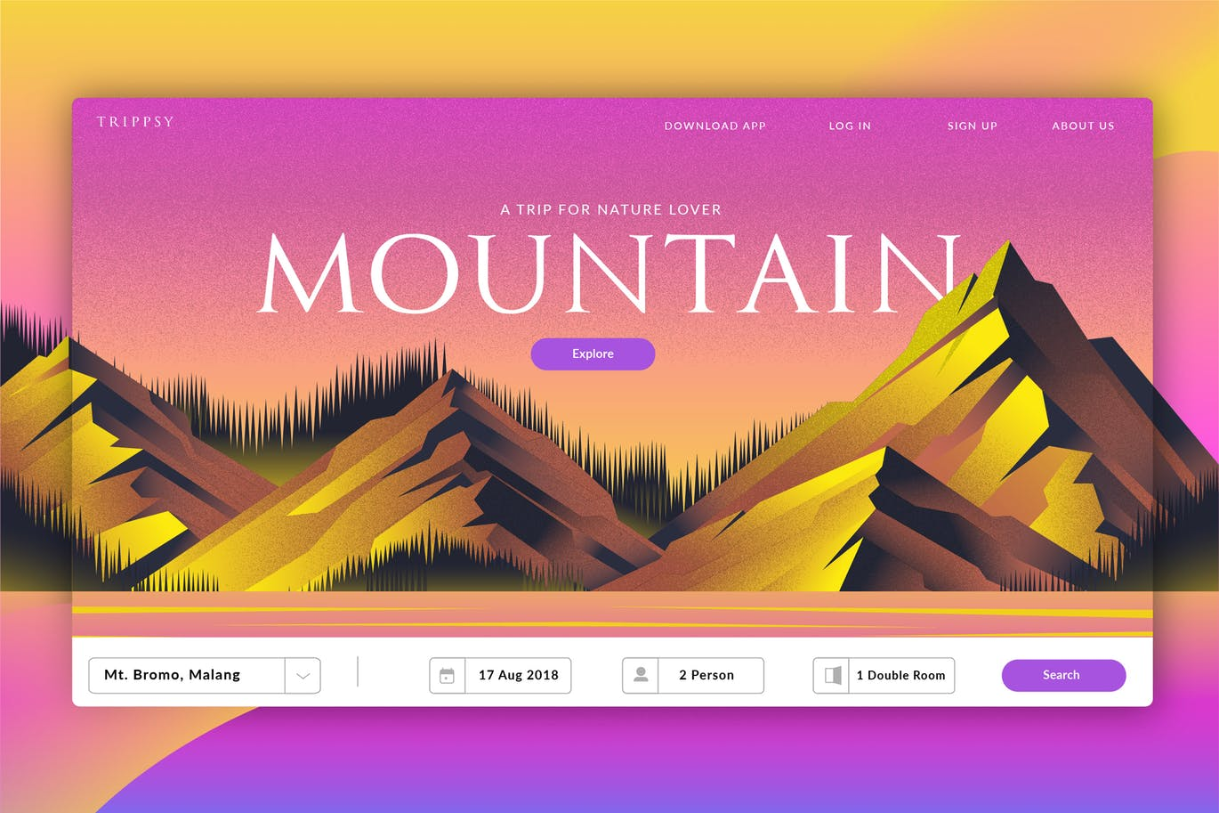 Mountain Travel Banner and Landing Page