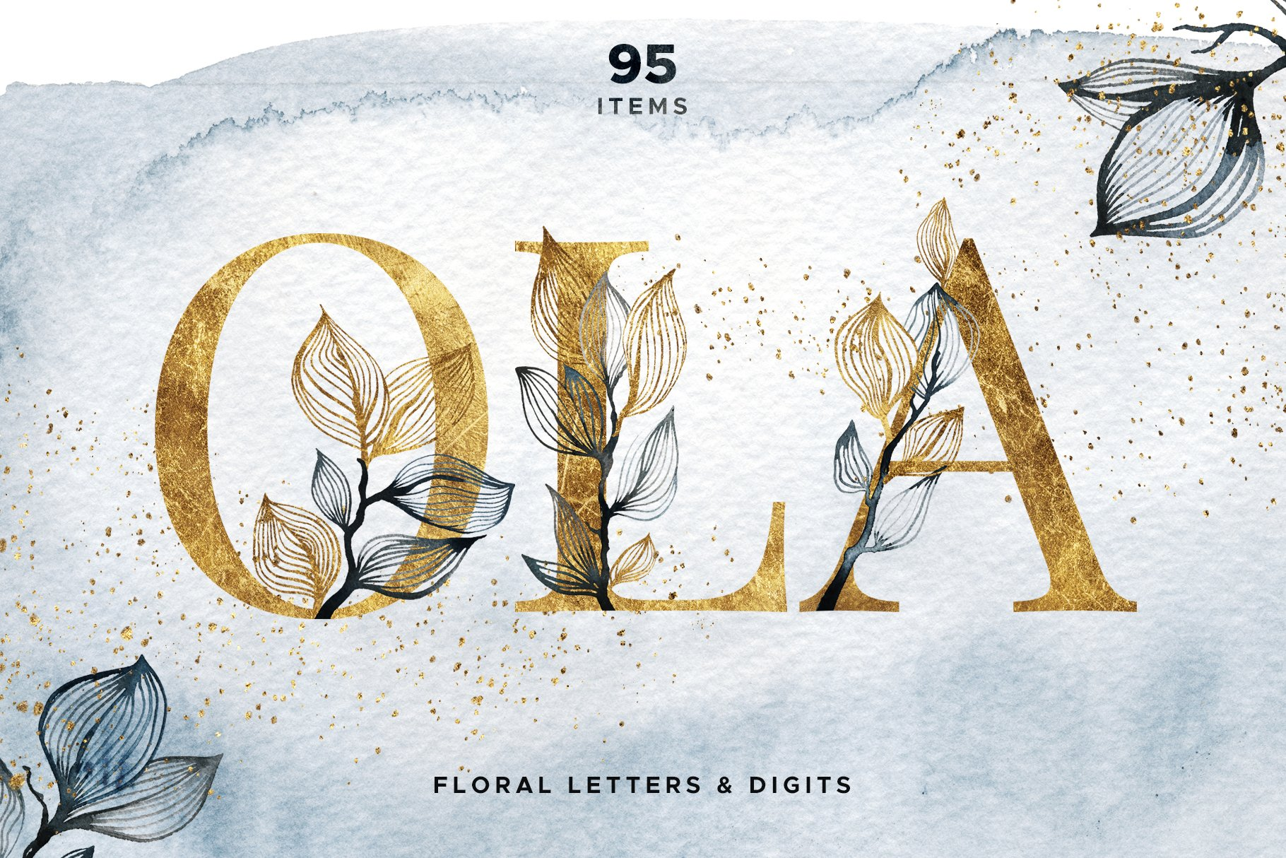 OLA Floral Alphabet Letters and Digits