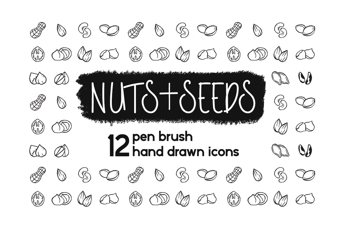 Pen Brush Hand Drawn Nuts & Seeds Graphics